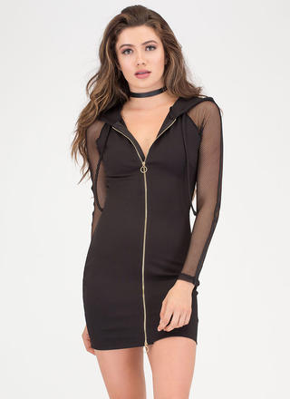 Mesh Together Zip-Up Hoodie Dress