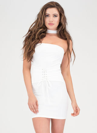 Of Corset Lace-Up Choker Dress