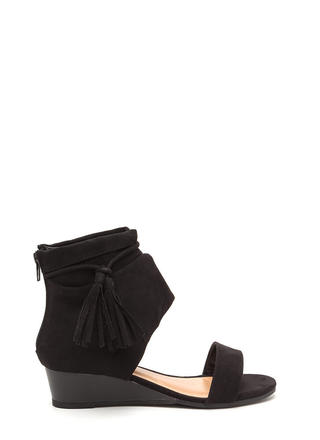 Two To Tassel Faux Suede Cut-Out Wedges