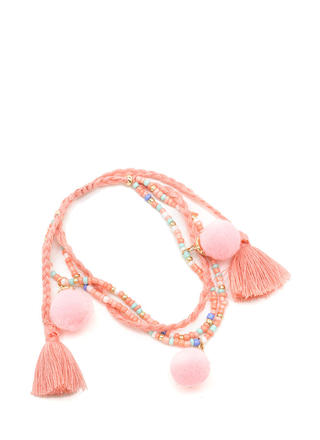 Just Bead It Pom-Pom Tassel Bracelet