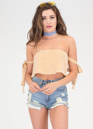 Draw The Line Off-Shoulder Crop Top