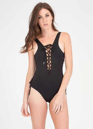 Head Turner Lace-Up One-Piece Swimsuit