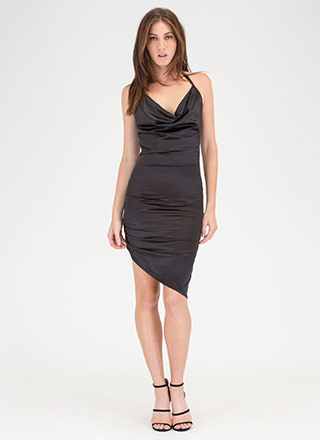 Ruche After You Satin Asymmetrical Dress