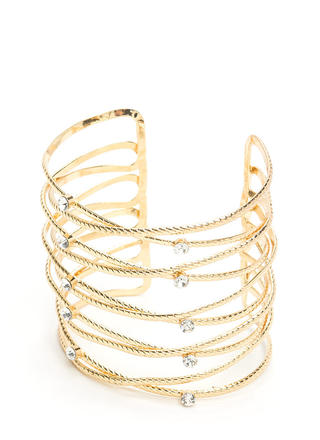 Roped In Jeweled Wire Cuff Bracelet
