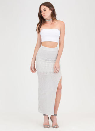 It's A Knit Ribbed Slit Maxi Skirt