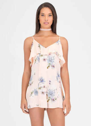 Love Is Fleur-ever Ruffled Satin Romper