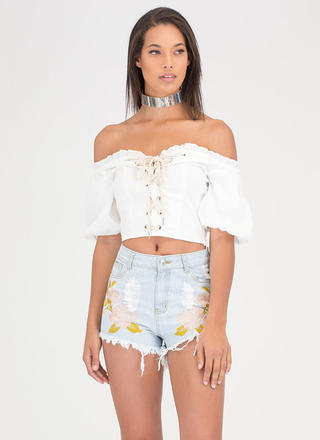 Blossoming Embroidered Jean Shorts