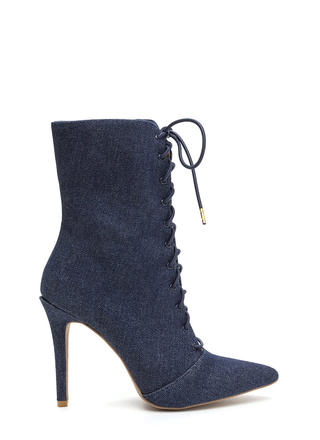 Point Taken Denim Lace-Up Booties