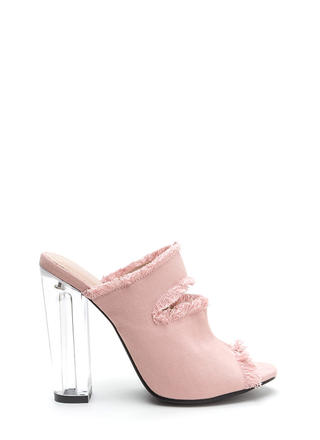 Fray A Game Clear Chunky Mule Heels