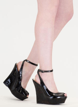 Slay Fair Faux Patent Platform Wedges