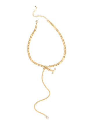 Yes Girl Sparkly Y-Drop Lariat Necklace
