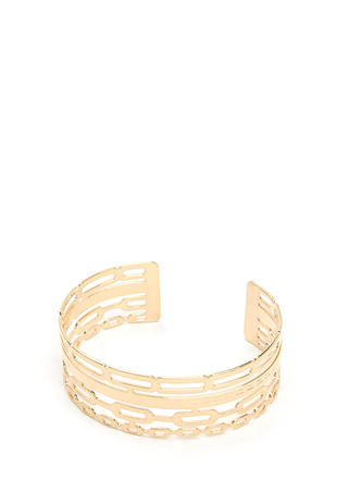 Stacked Illusion Cut-Out Chain Cuff
