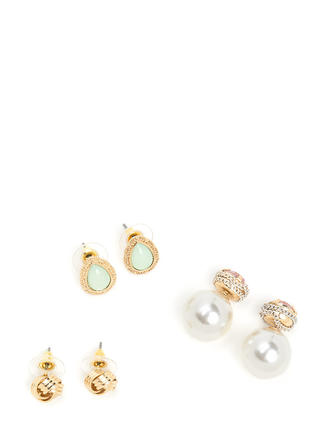 Glitzy Flourish Jeweled Earring Set