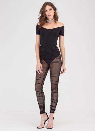 Ruched Into It Sheer Mesh Leggings
