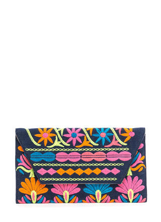 Colorful Story Embroidered Denim Clutch