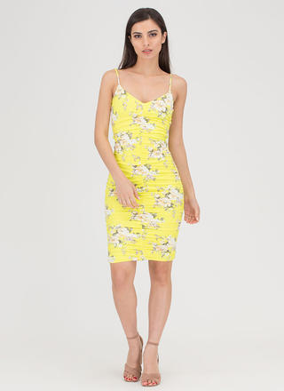 Curves On Curves Floral Ruched Dress