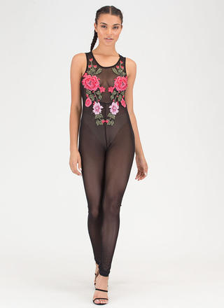 Rose To The Top Sheer Mesh Jumpsuit