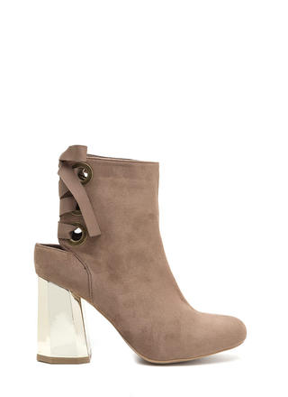 Signature Look Chunky Lace-Back Booties