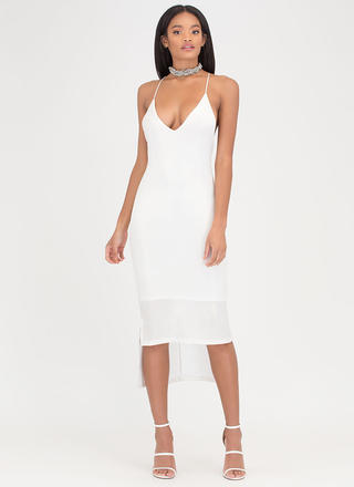 Slip Away Shimmery High-Low Midi Dress
