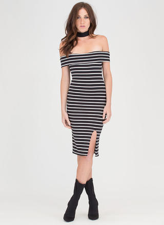 Power Lines Striped Off-Shoulder Dress