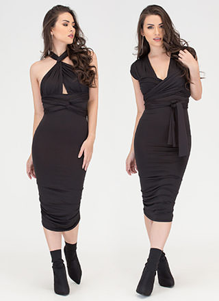 My Way Convertible Ruched Bodycon Dress