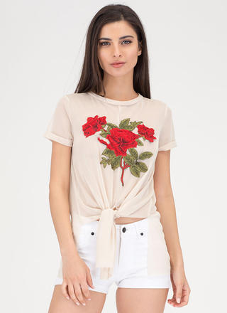 Bloom To Grow Tie-Front Mesh Top
