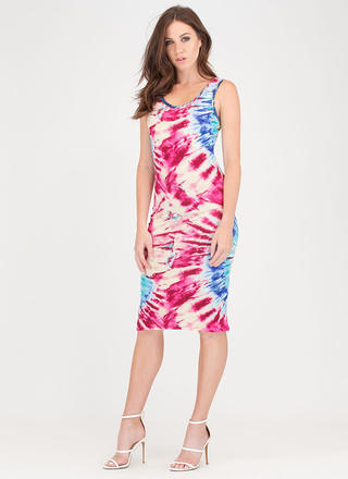 Rising Sunburst Tie-Dye Tank Dress