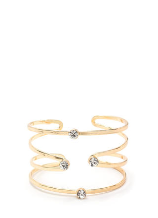 Gilded Statement Jeweled Caged Cuff