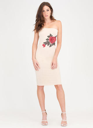 Staying Flower Embroidered Tube Dress