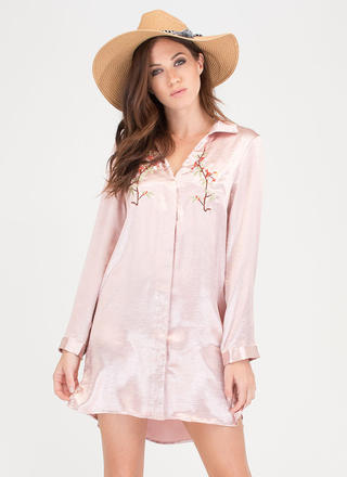Cherry Blossom Season Satin Shirtdress