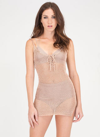 This Is Knit Lace-Up Metallic Minidress
