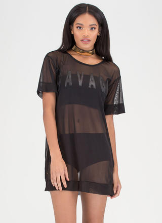 That Was Savage Sheer Mesh Tee Dress