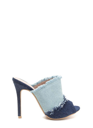 Two-Tone Step Frayed Mule Heels