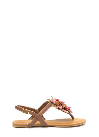 Ka-Bloom Faux Leather T-Strap Sandals