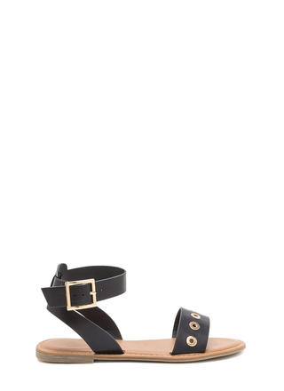 Hole-d Together Faux Leather Sandals