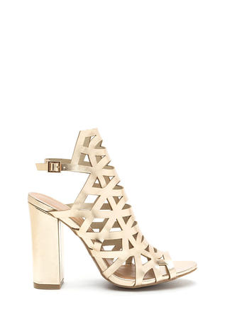 Geo Up Cut-Out Metallic Heels