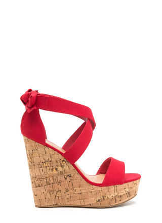 Bow All Out Strappy Platform Wedges