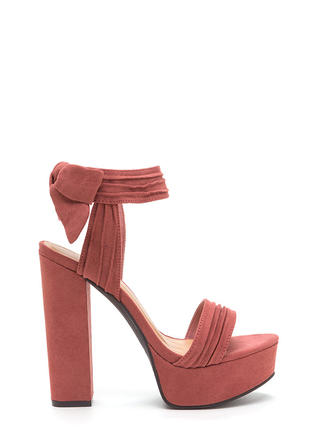 Bow Yeah Chunky Faux Suede Heels