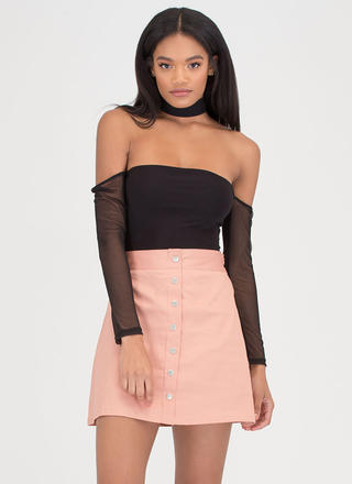 Press The Right Buttons Flared Skirt
