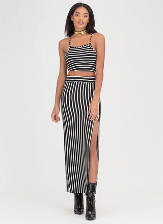 Stripe Down Slit Two-Piece Maxi Dress