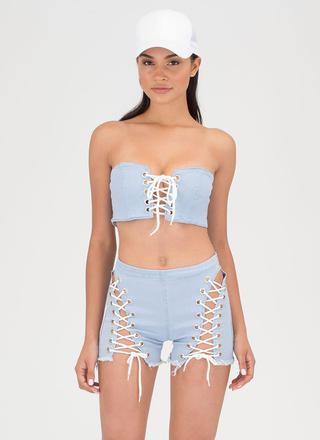 Tie Down Denim Top Two-Piece Romper