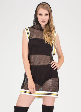 Athleisure Mood Fishnet Hoodie Dress