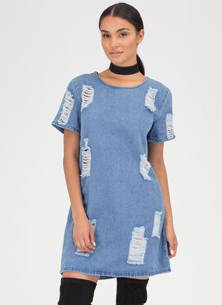 Shift Into Gear Distressed Denim Dress