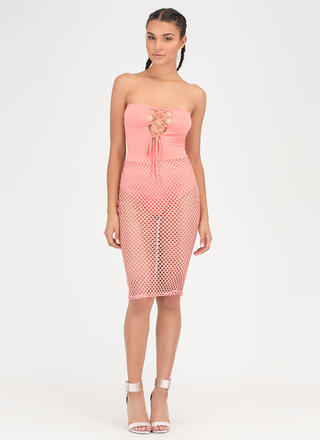 Hole Thing Strapless Lace-Up Mesh Dress