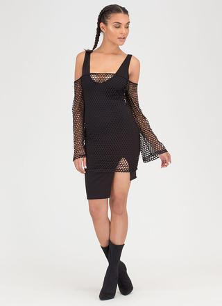 Ready Net Go Off-Shoulder High-Low Dress