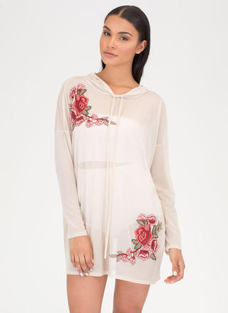 Sheer For U Embroidered Hoodie Dress