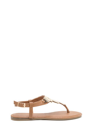 Mystical Metallic Plate T-Strap Sandals