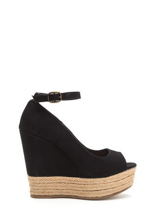 Sea You Later Peep-Toe Espadrille Wedges