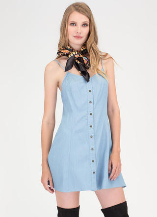 Easy Breezy Button-Up Chambray Dress