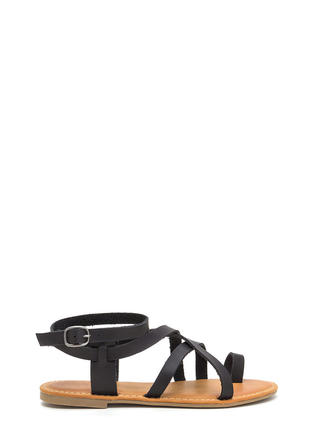 Cage Turner Strappy Faux Leather Sandals